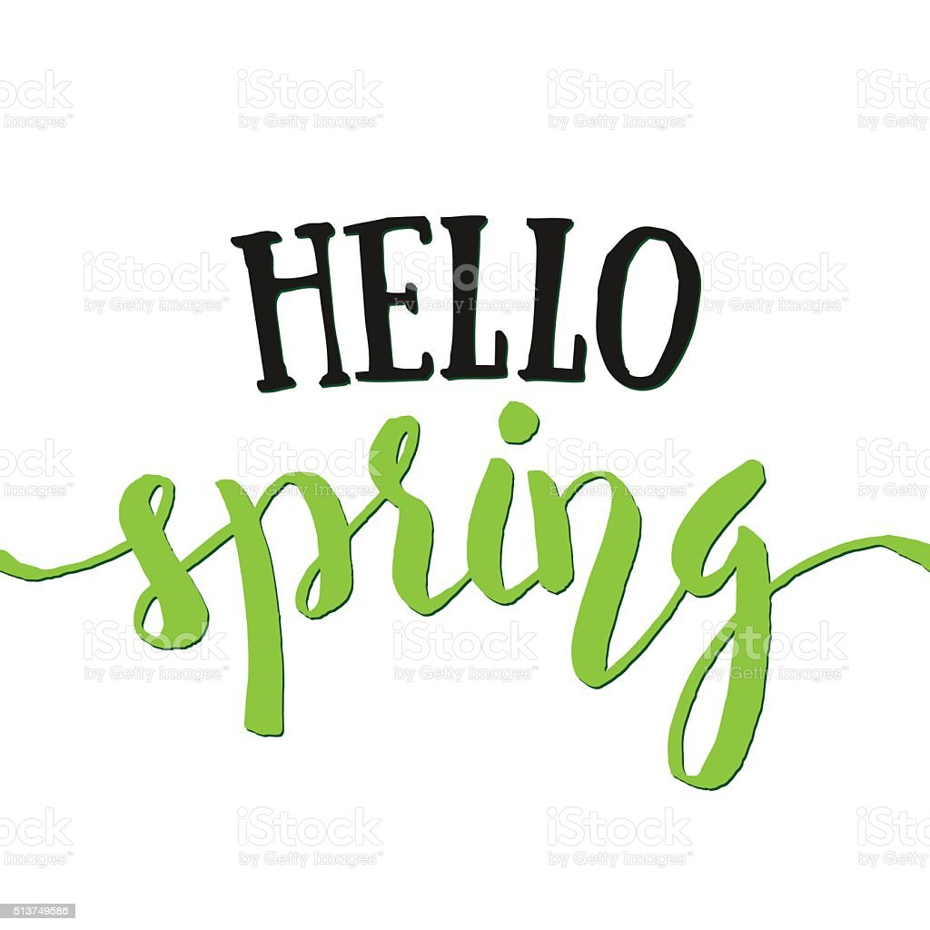 Hello Spring - Hand drawn inspirational quote. Spring vector lettering vector art illustration
