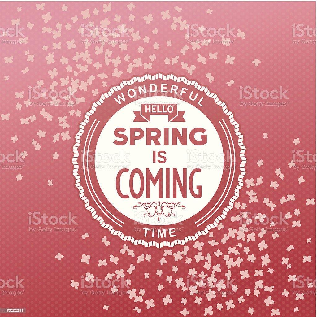 Hello, spring is coming royalty-free stock vector art