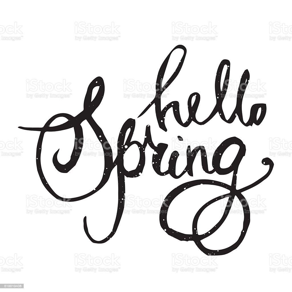 hello spring lettering quote stock vector art 510010408 istock