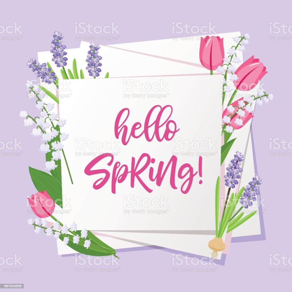Hello spring lettering. Spring flowers on white paper background with seasonal spring text. Vector illustration. vector art illustration