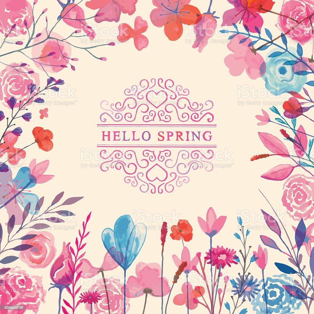 Hello spring vector art illustration
