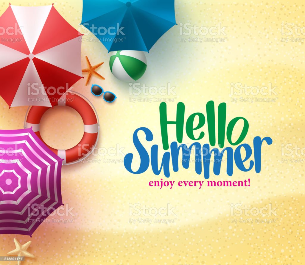 Hello Summer Background with Colorful Umbrella vector art illustration