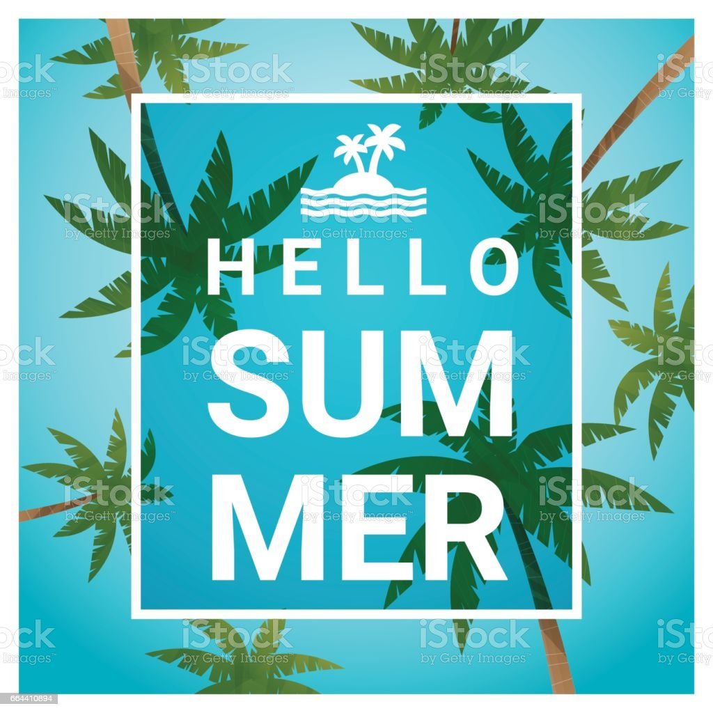 Hello summer background with palm trees at tropical beach , vector ,...