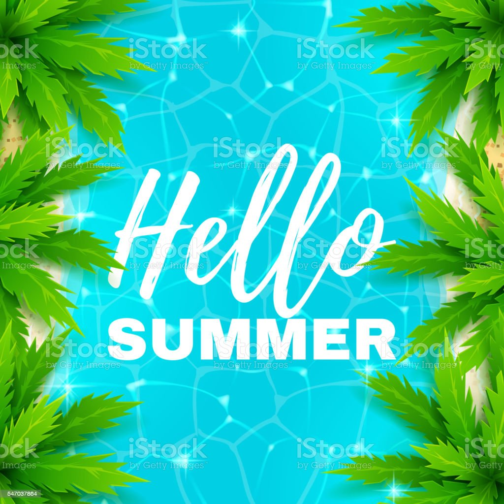 Hello summer banner with water texture royalty-free stock vector art