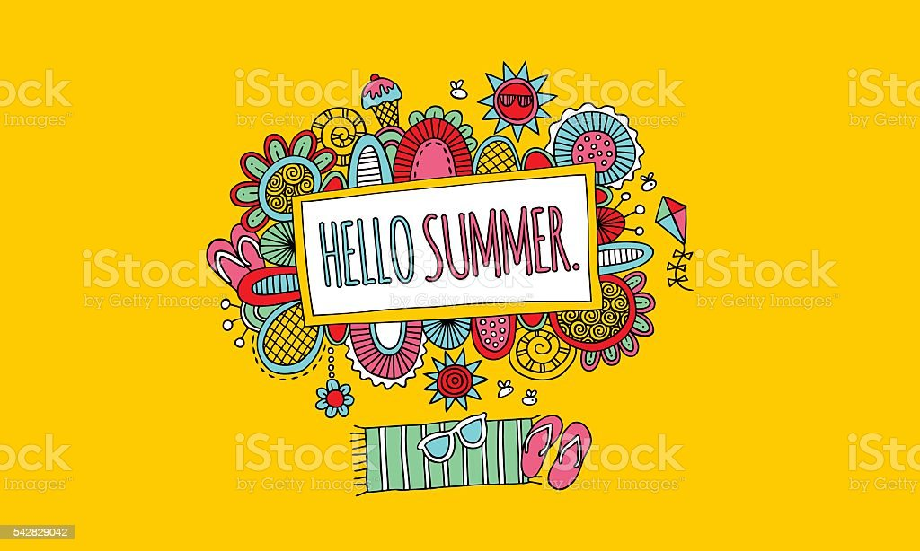 Hello Summer Hand Drawn Doodle Vector Colourful on Yellow Background vector art illustration