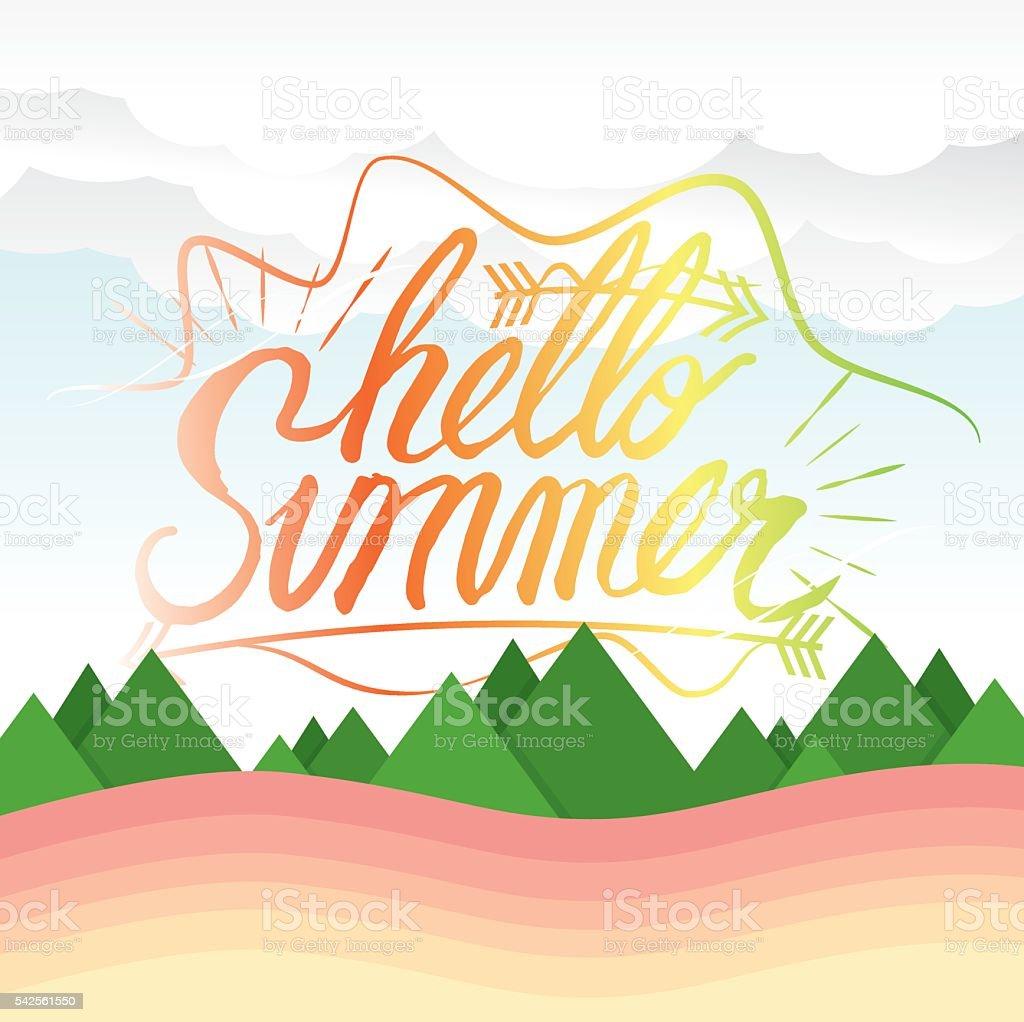 Hello Summer Hand Lettering Summer Vacation Concept. vector art illustration