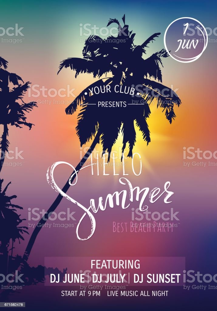 Hello summer lettering. Tropical palms, sunset background. Party invitation template.  Vector illustration EPS10. vector art illustration