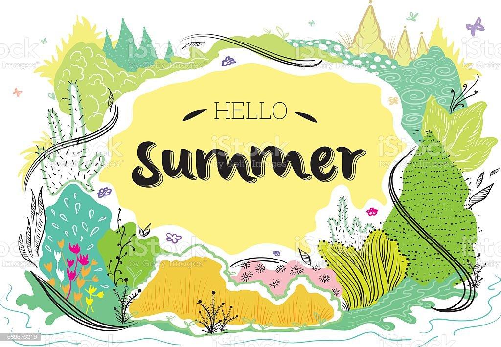 Hello summer nature illustration vector art illustration