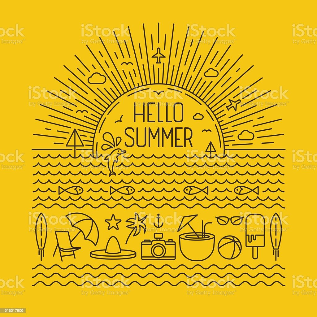 Hello summer outlines vector art illustration