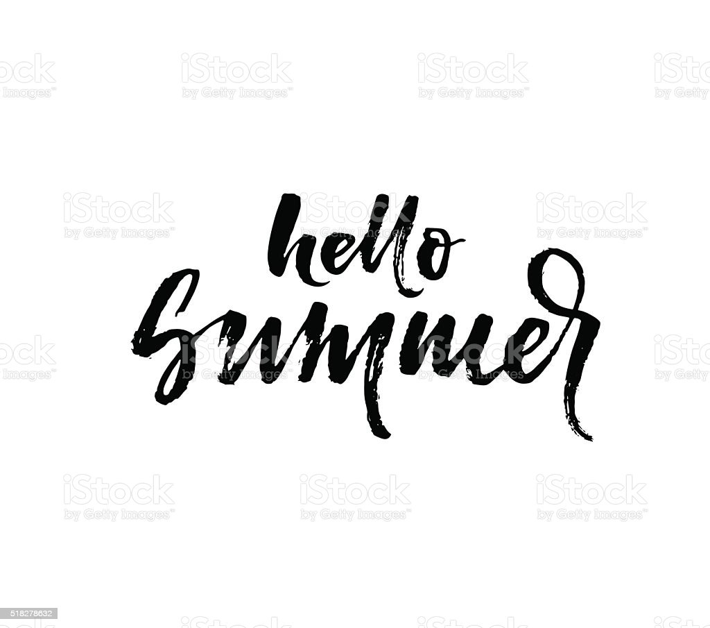 Hello summer phrase. vector art illustration