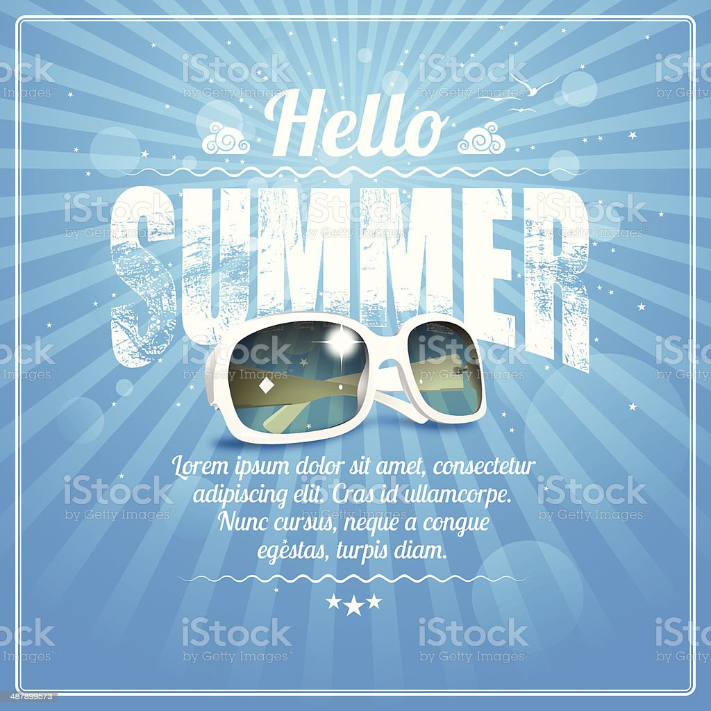 Hello Summer poster with cool white sunglasses on blue rays vector art illustration