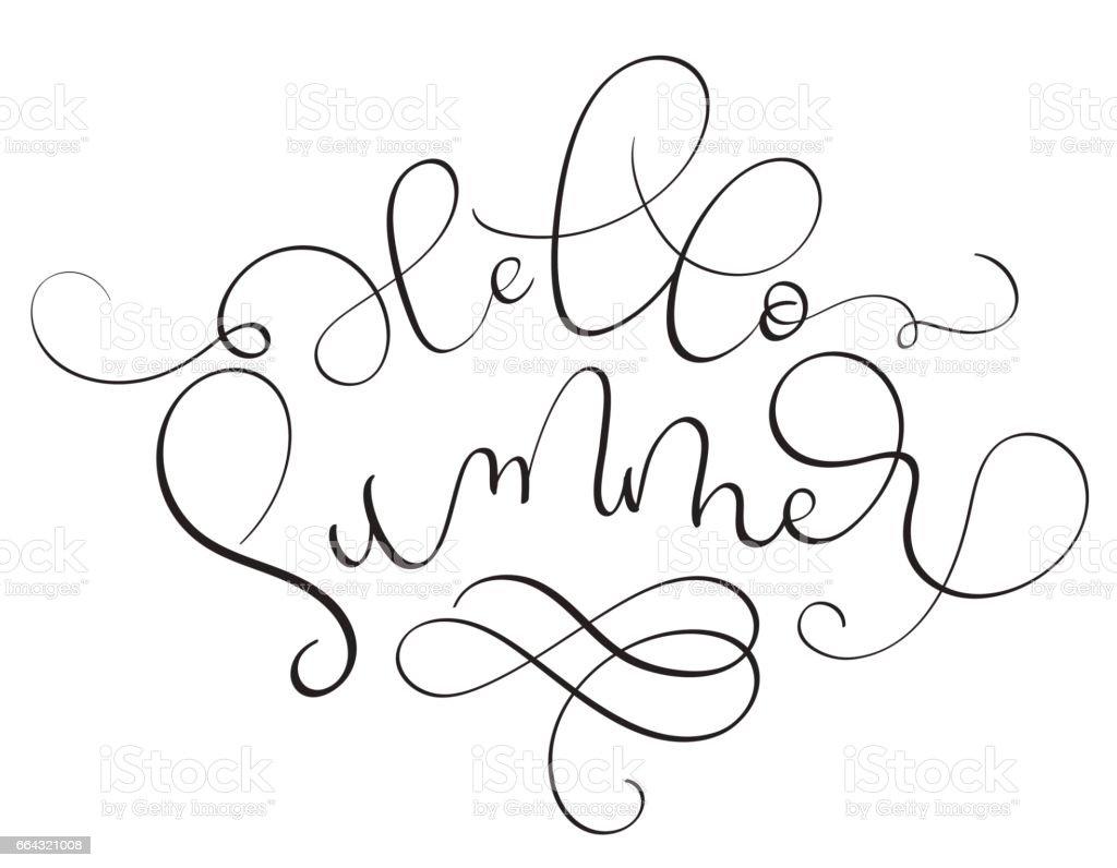Hello Summer text on white background. Hand drawn Calligraphy lettering Vector illustration EPS10 vector art illustration