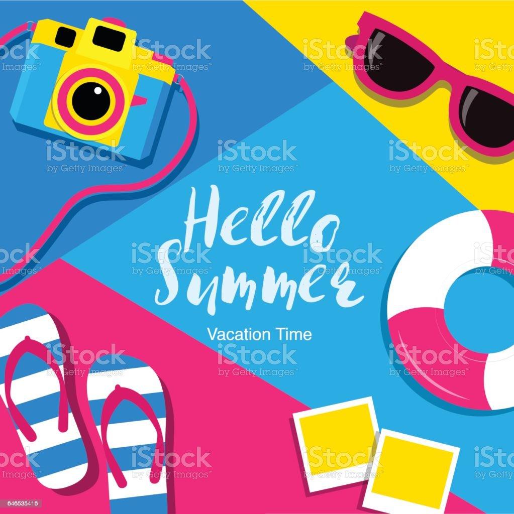 Hello summer, Travel, Banner layout, flat design, vector illustration. vector art illustration