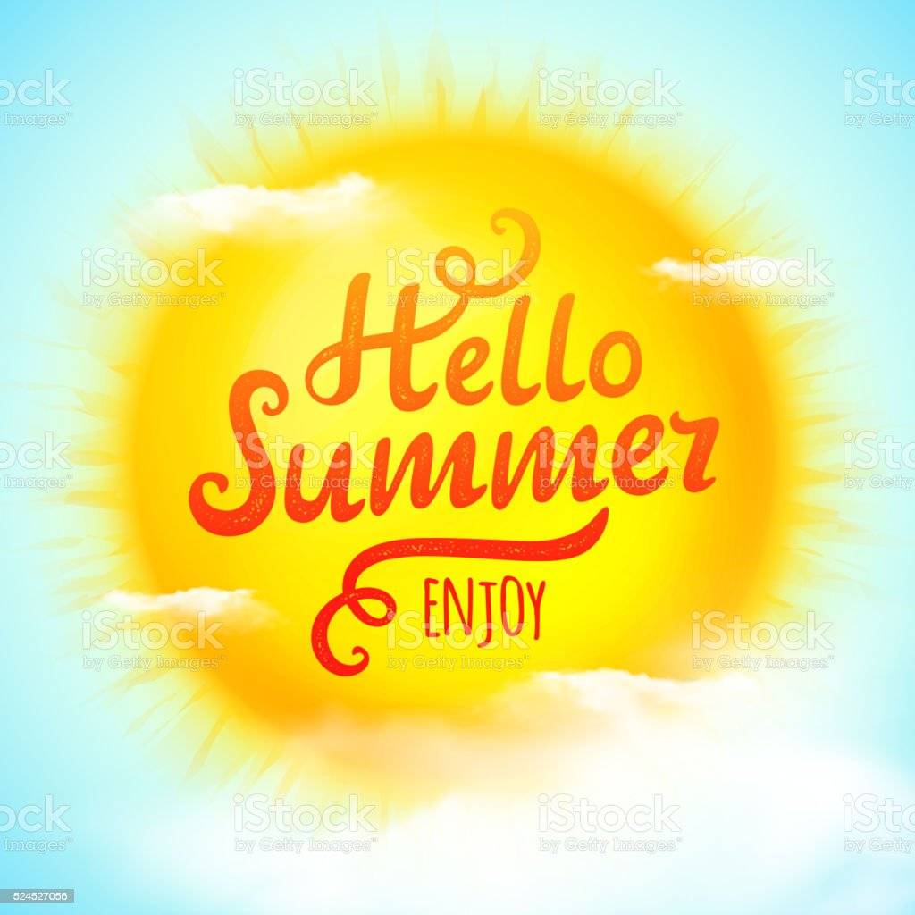 Hello summer, typographic inscription on 3D realistic sun. Vector Illustration vector art illustration