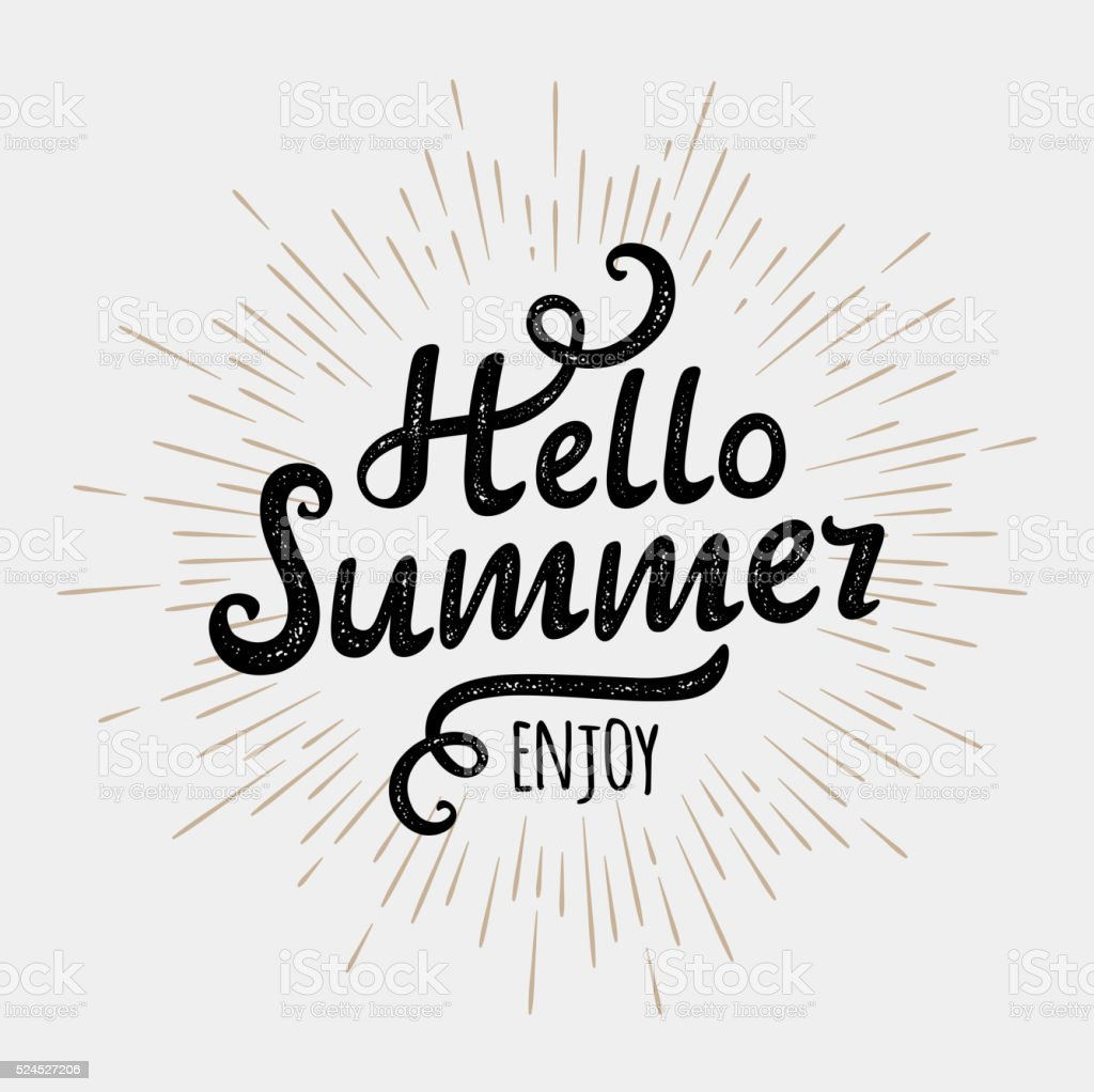 Hello summer, typographic inscription on vintage monochrome sun background vector art illustration
