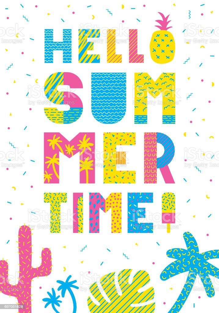 Hello summer typography vector art illustration