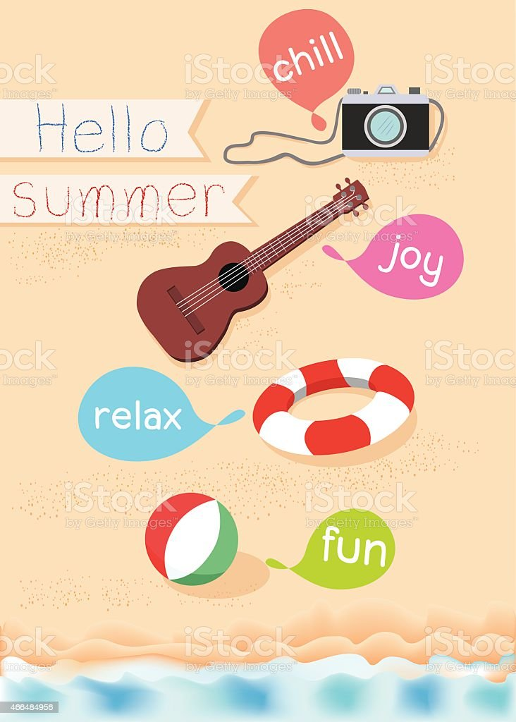 Hello summer vector art illustration