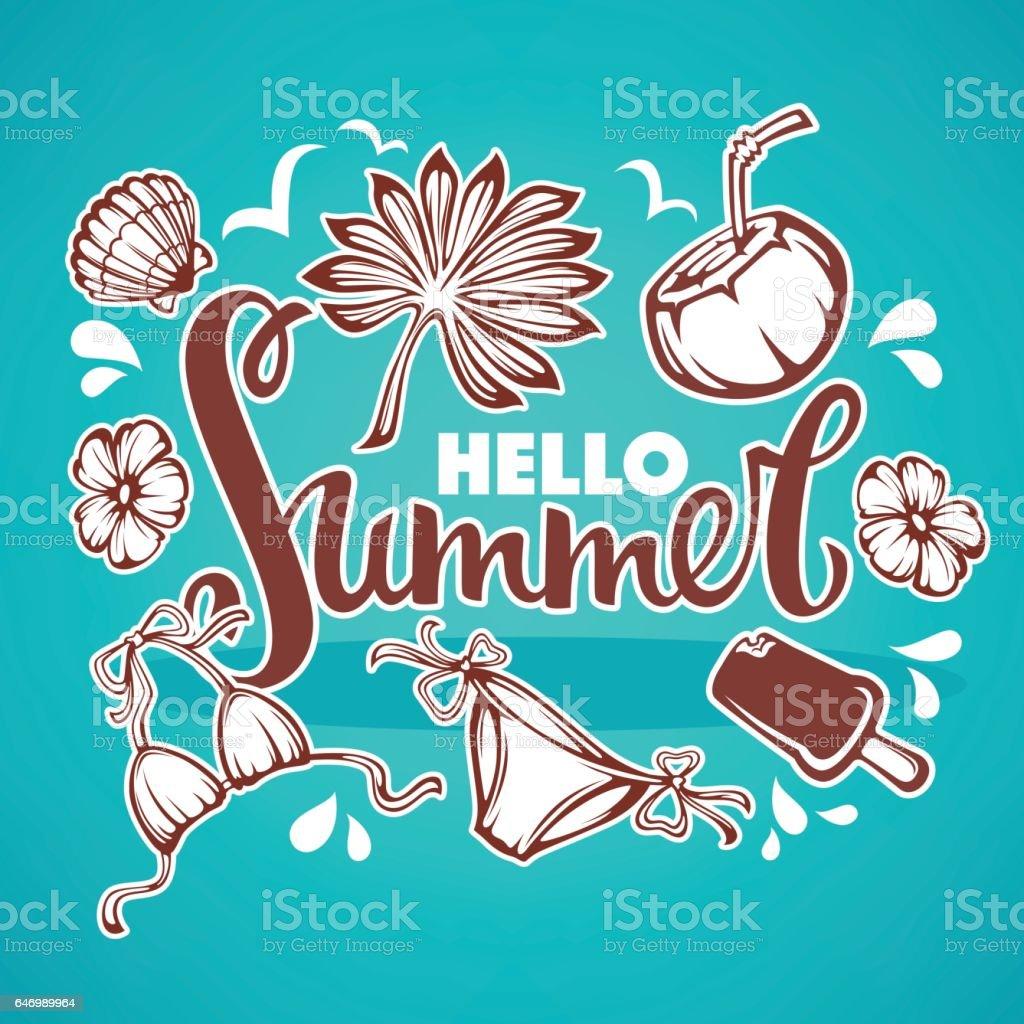 Hello Summer vector art illustration