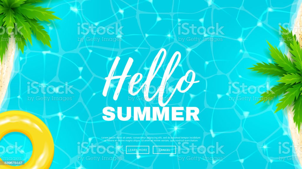 Hello summer web banner vector art illustration