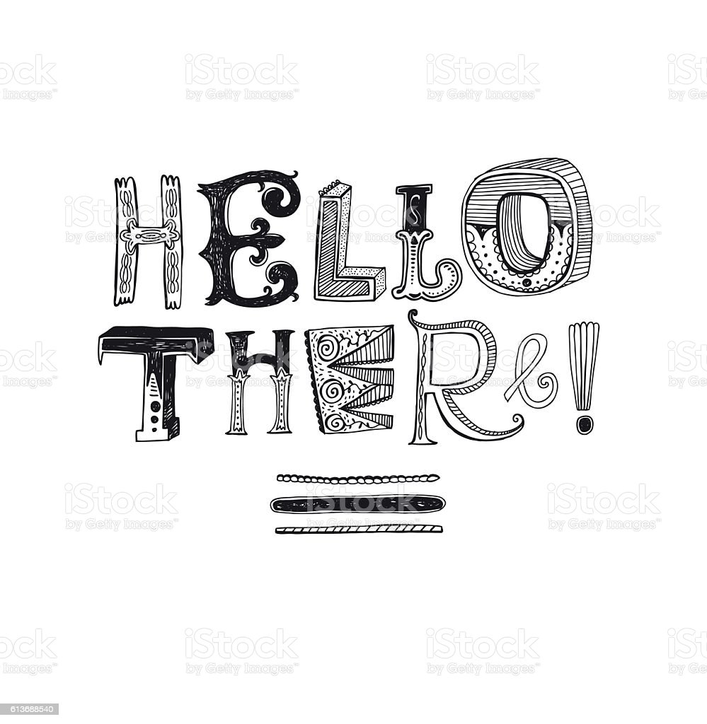 Hello there hand drawn message vector art illustration