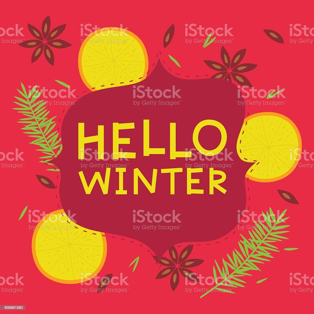 Hello winter card vector art illustration