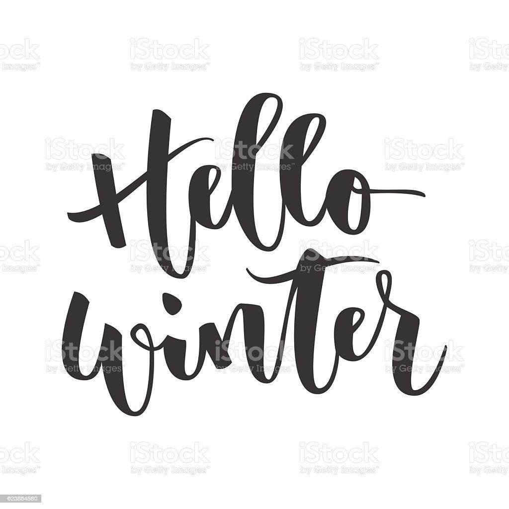 Hello winter hand written inscription vector art illustration
