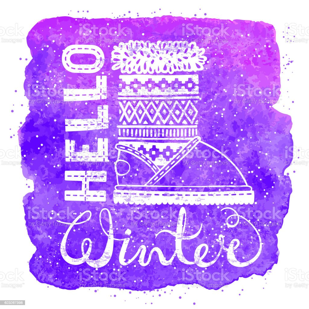 Hello winter lettering text Brush and boots on watercolor background vector art illustration