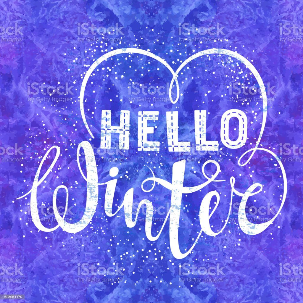 Hello winter text lettering with heart element on watercolor background vector art illustration
