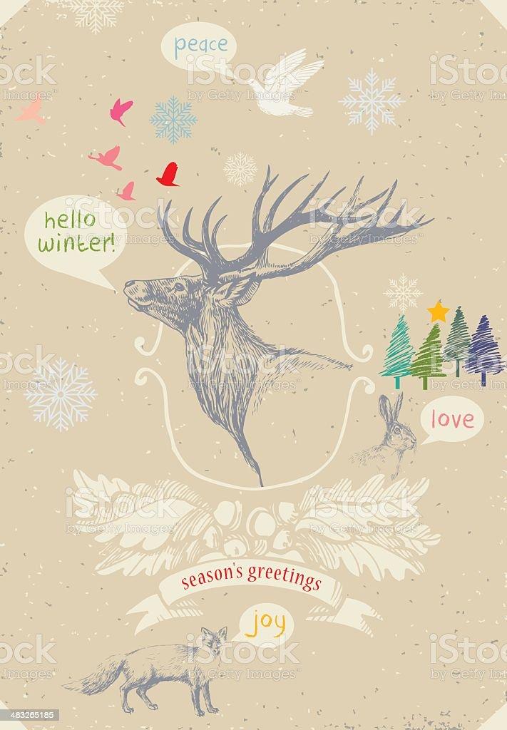 Hello Winter vector art illustration