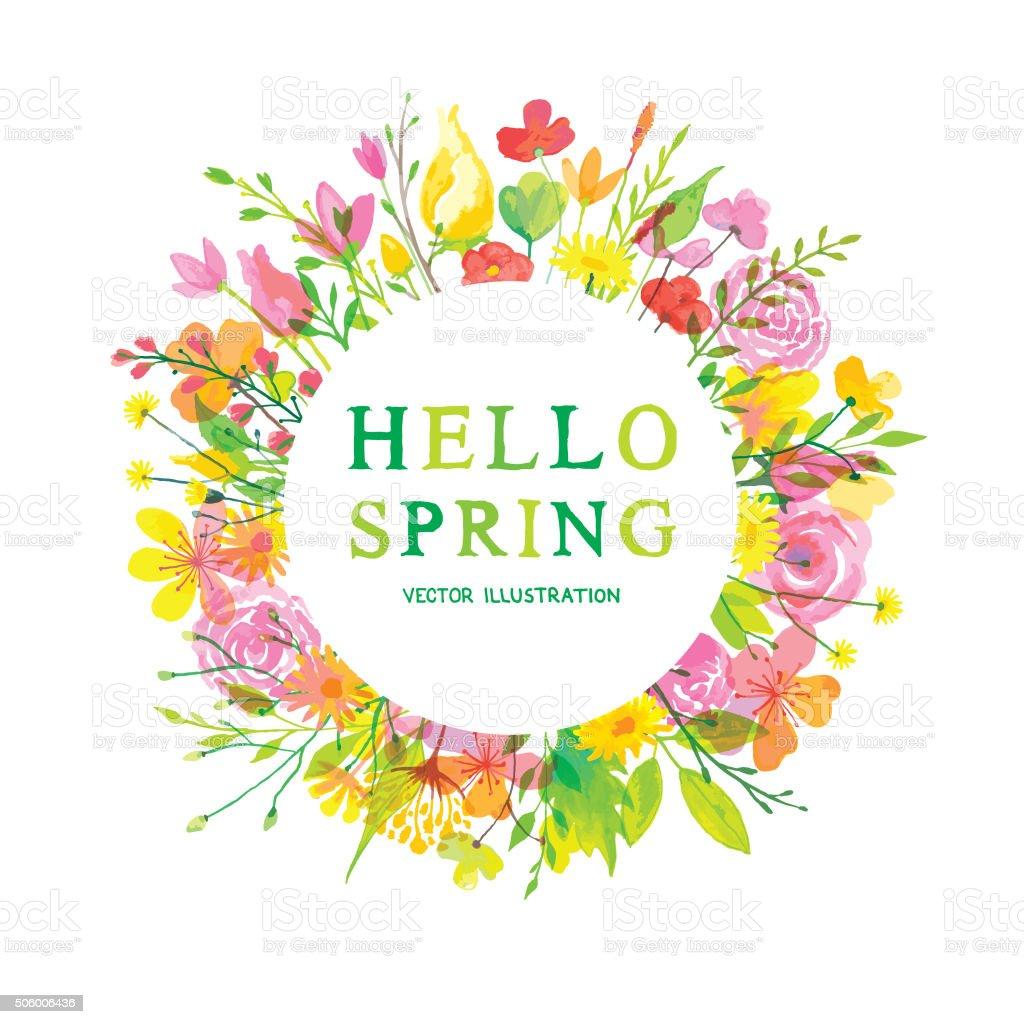 Hello wonderful spring vector art illustration