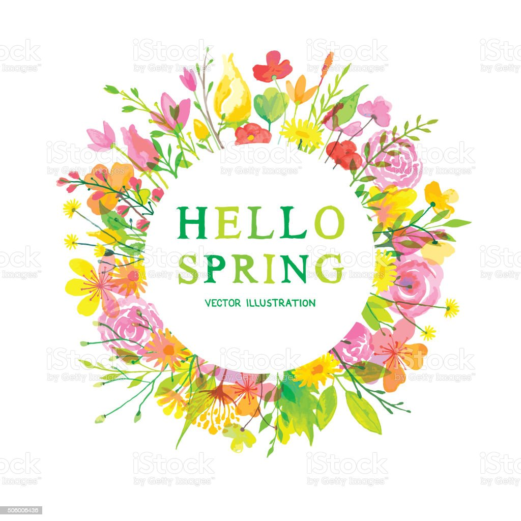 Hello wonderful spring vector art illustration