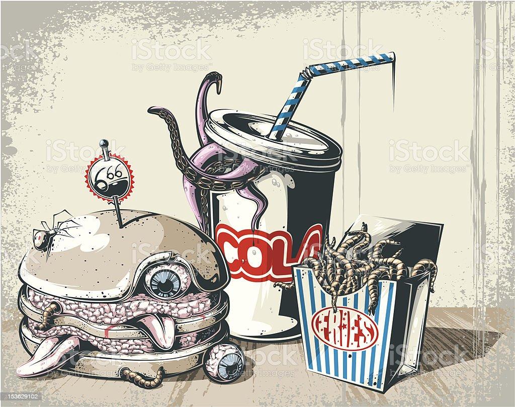 Hell's breakfast vector art illustration