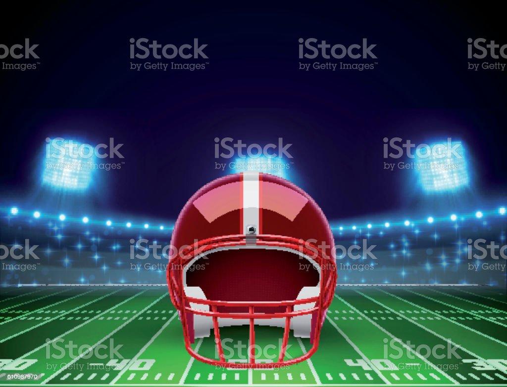 helmet  and american football field eps 10 vector art illustration