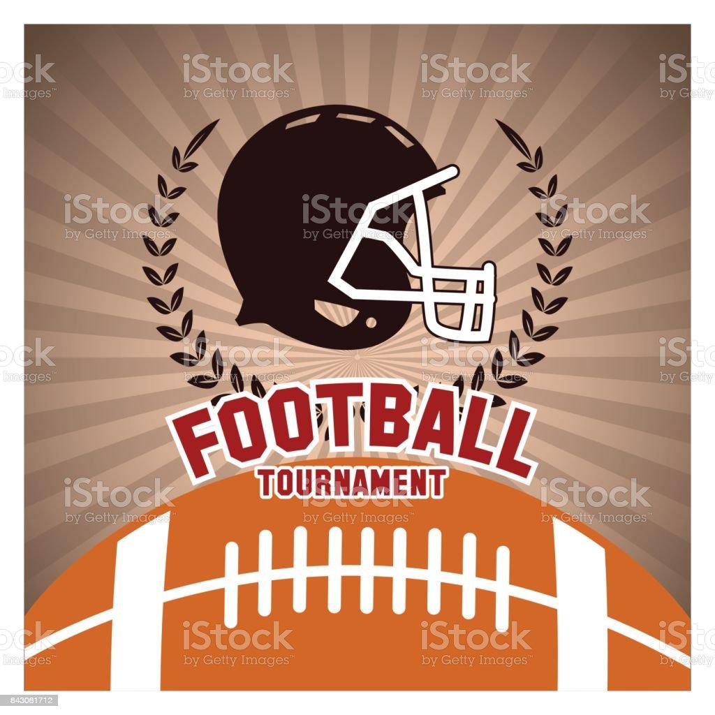 Helmet and ball of american football design vector art illustration