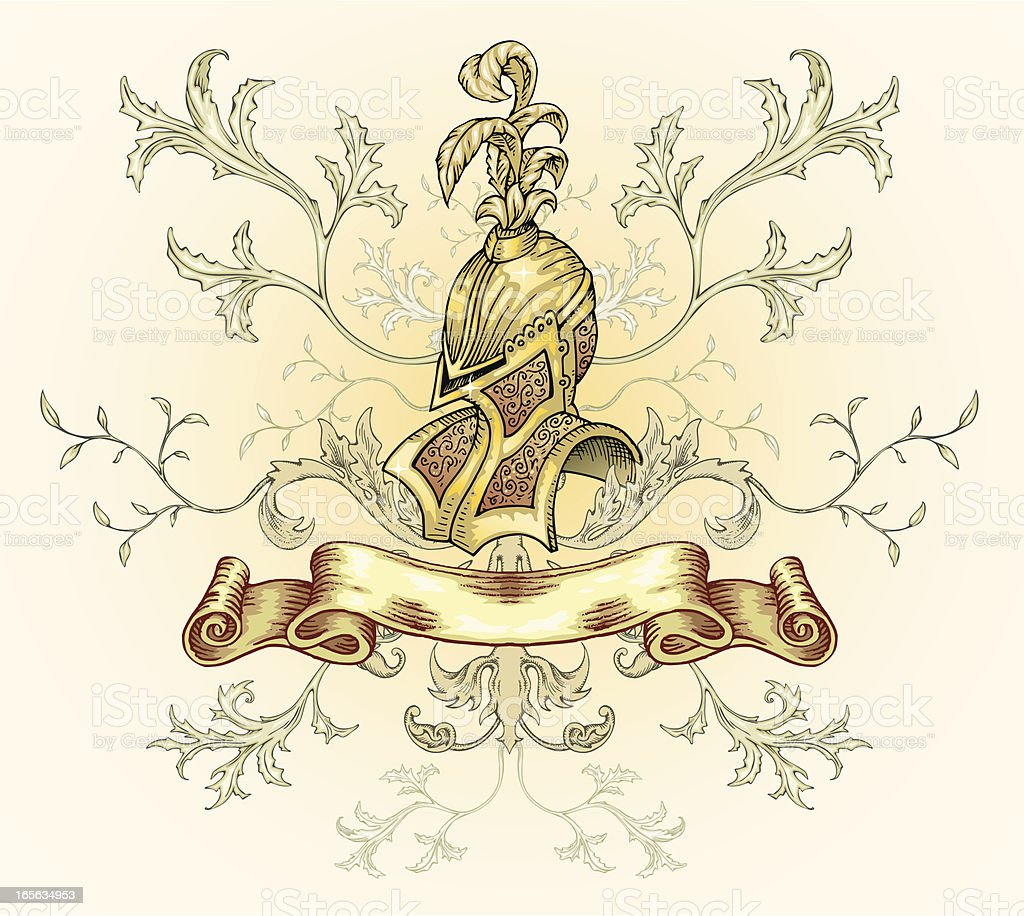 Helmet and scroll. royalty-free stock vector art