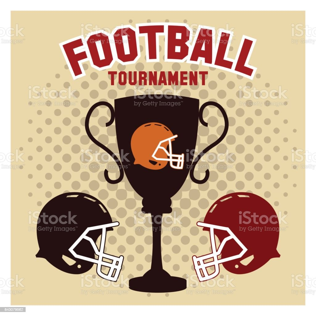Helmet and trophy of american football design vector art illustration