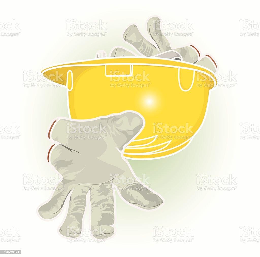 Helmet and work gloves vector art illustration