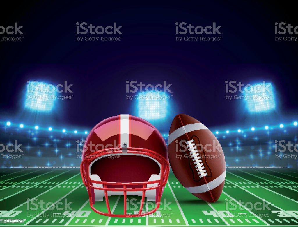 helmet ball and american football field eps 10 vector art illustration
