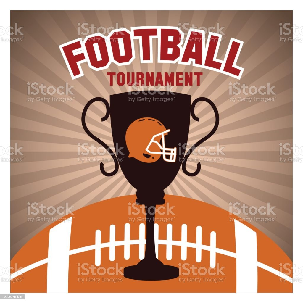 Helmet ball and trophy of american football design vector art illustration
