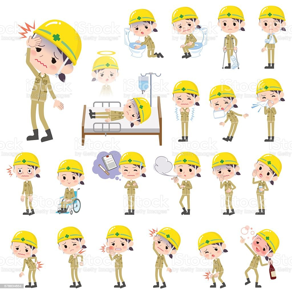 helmet construction worker woman sickness vector art illustration