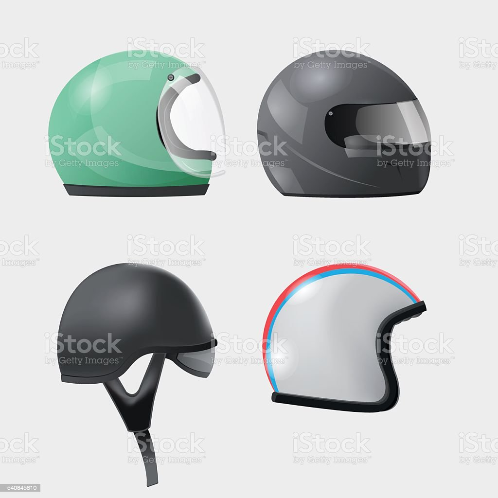 Helmet Head Isolate Design Set Vector vector art illustration