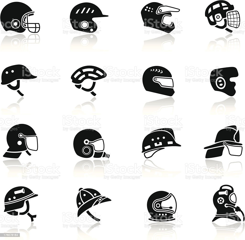 Helmet Icon Set vector art illustration