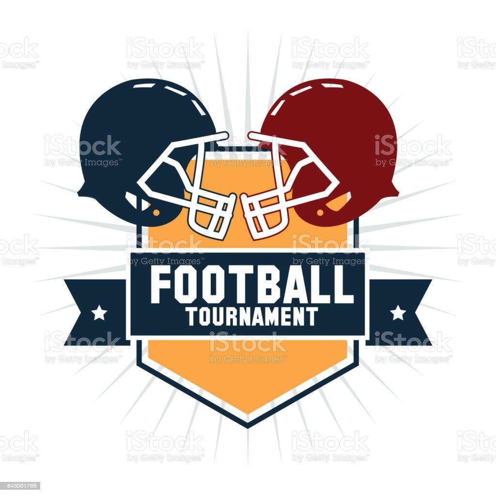 Helmet inside shield of american football design vector art illustration