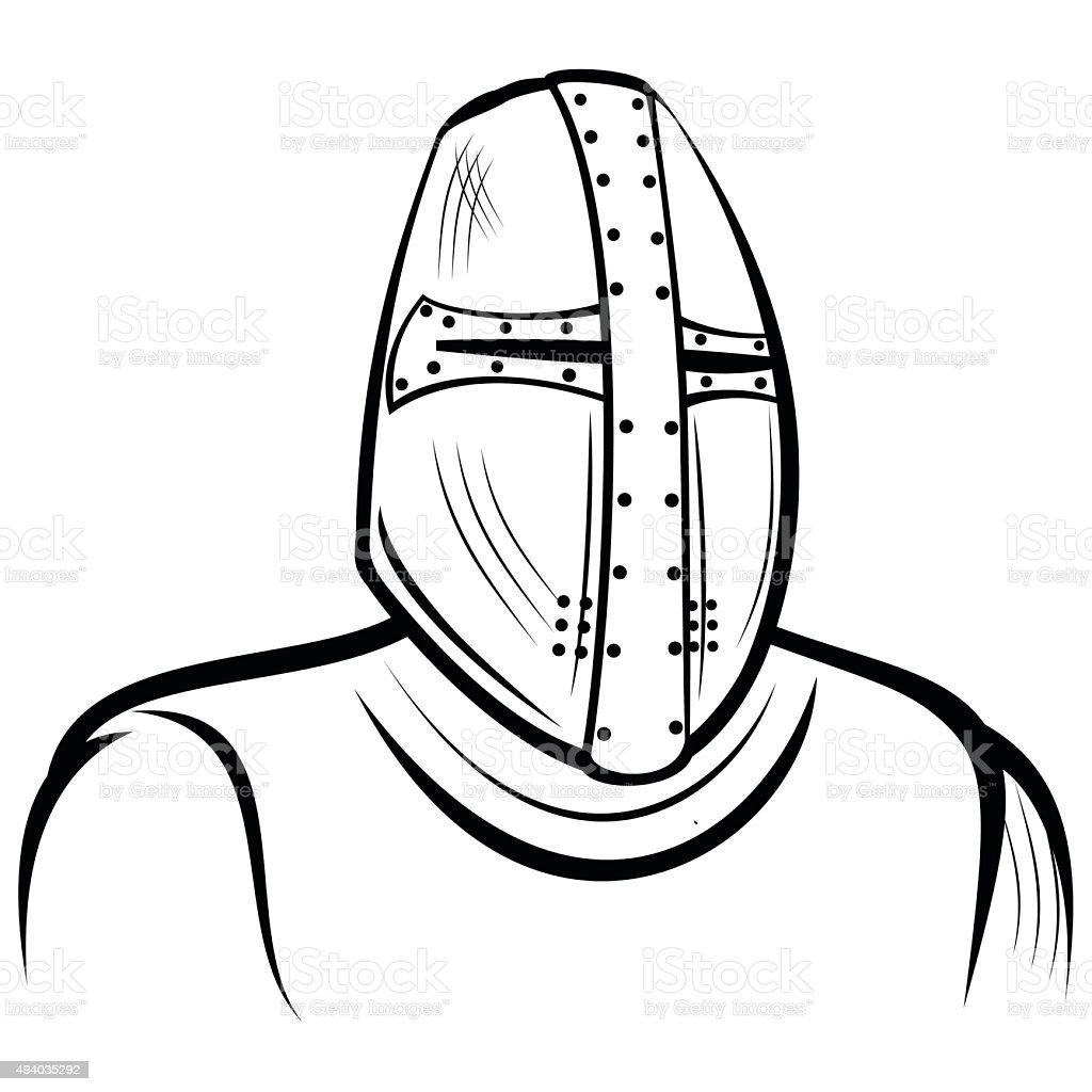 Helmet of the medieval knight royalty-free stock vector art