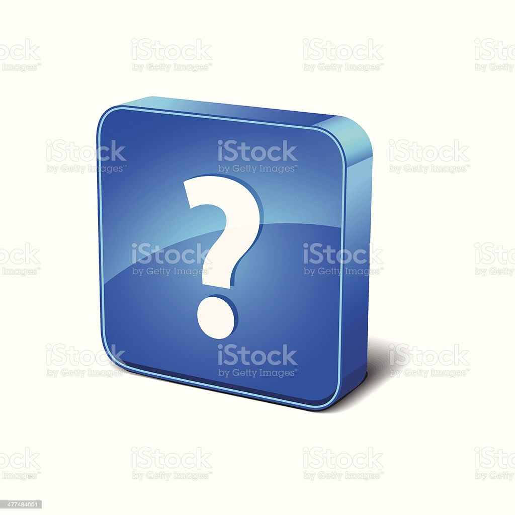 Help 3d Rounded Corner Blue Vector Icon Button royalty-free stock vector art