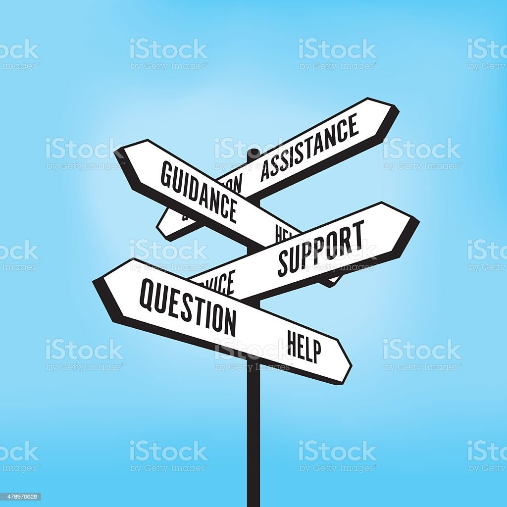 Help and support signpost vector art illustration