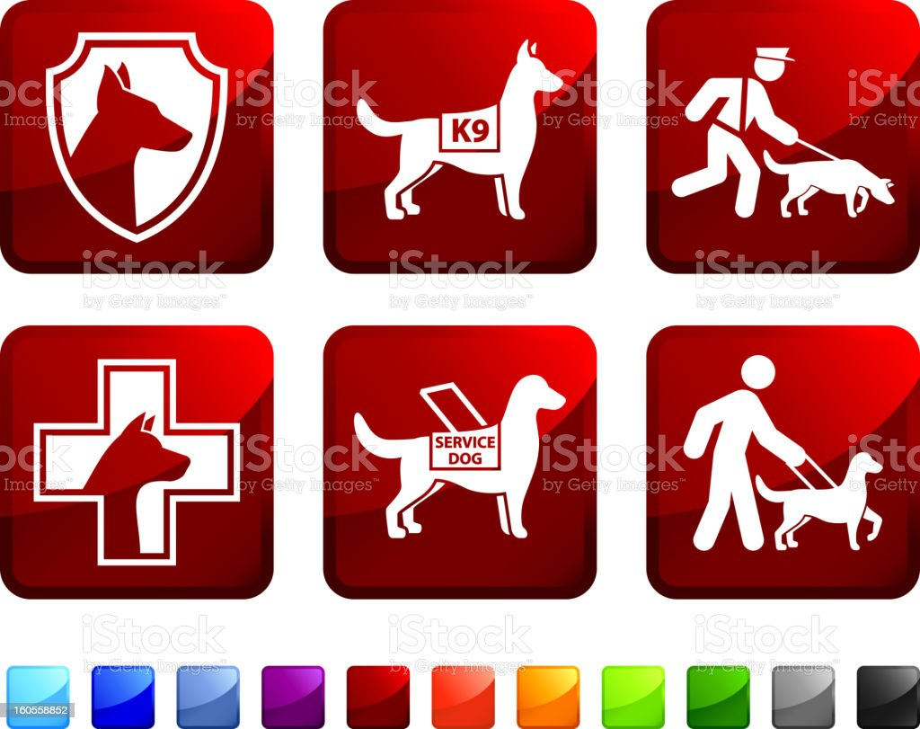 Help Dog For Blind and Police vector icon set stickers royalty-free stock vector art