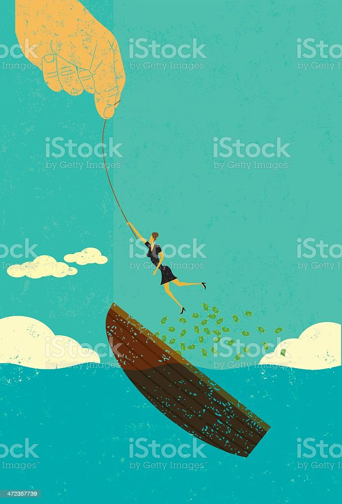 Help escaping bankruptcy vector art illustration