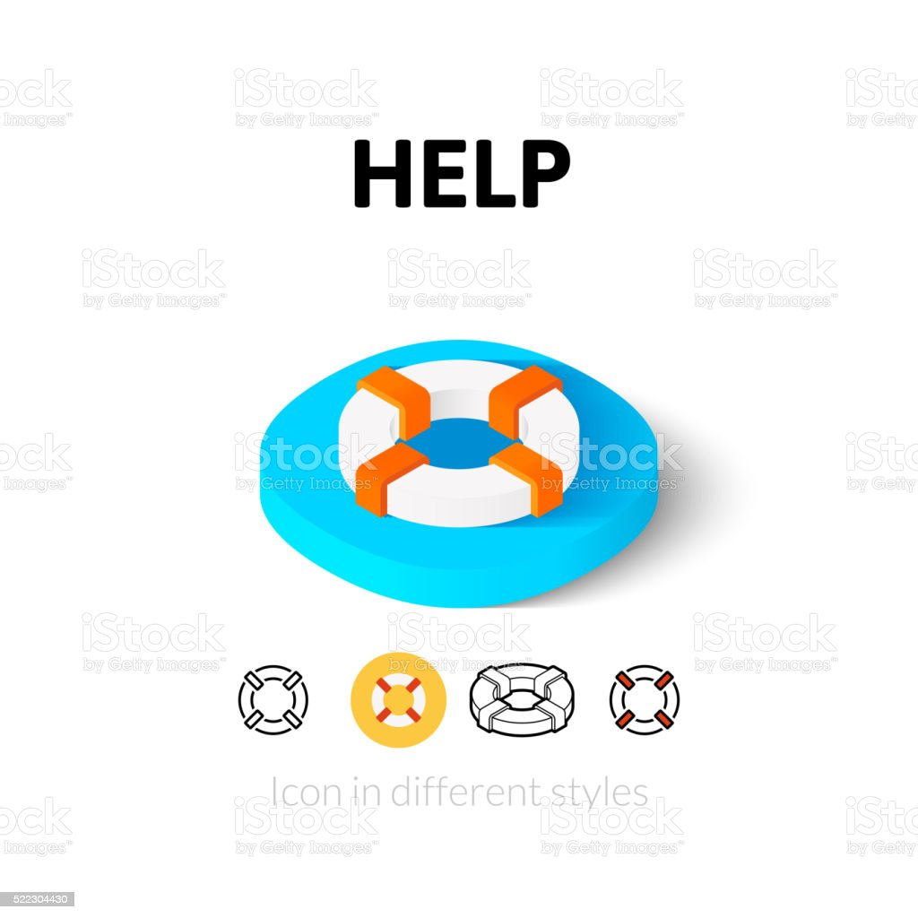 Help icon in different style vector art illustration