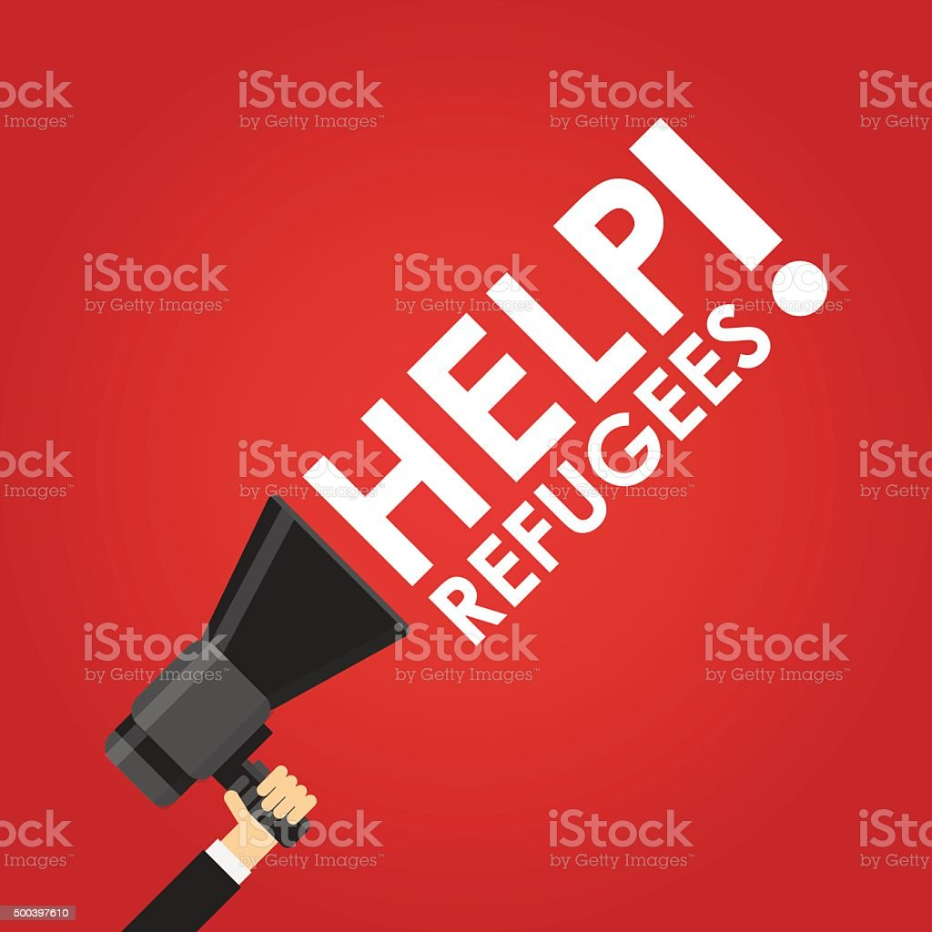 Help refugees in red vector art illustration
